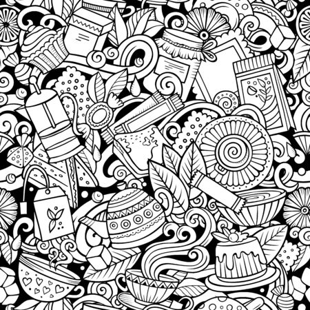 Cartoon cute doodles hand drawn Tea House seamless pattern. Line art detailed, with lots of objects background. Endless funny vector illustration. All objects separate. Иллюстрация