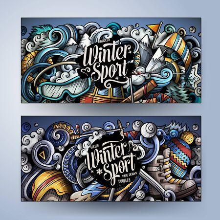Sporty zimowe ręcznie rysowane doodle banery zestaw. Kreskówka szczegółowe ulotki.
