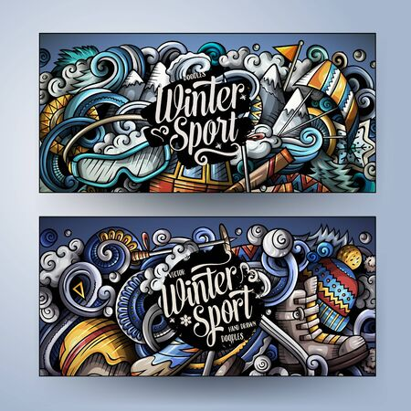 Winter sport hand drawn doodle banners set. Cartoon detailed flyers. Illustration
