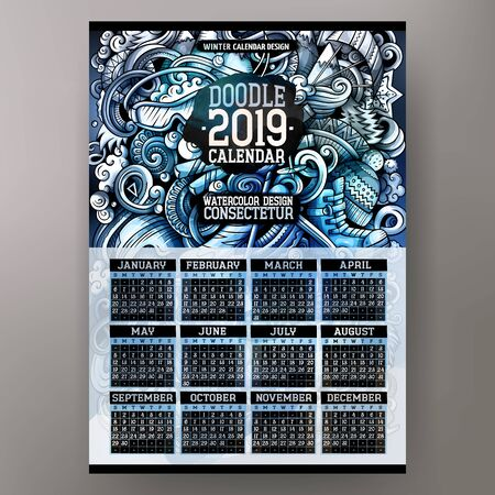Cartoon colorful hand drawn doodles Winter Sport 2019 year calendar template. English, Sunday start. Very detailed, with lots of objects illustration. Funny vector artwork.