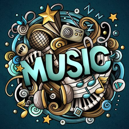 Cartoon cute doodles Music word. Colorful illustration.