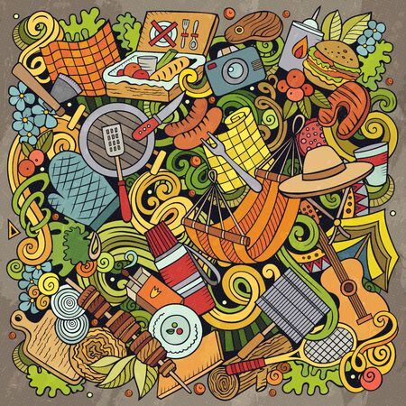 Picnic hand drawn vector doodles illustration. BBQ poster design. Family party elements and objects cartoon background. Bright colors funny picture. All items are separated Archivio Fotografico - 127747235
