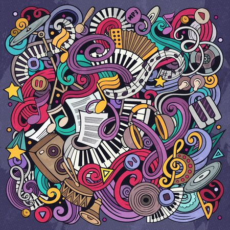Music hand drawn vector doodles illustration. Musical poster design. Sound elements and objects cartoon background. Bright colors funny picture. All items are separated