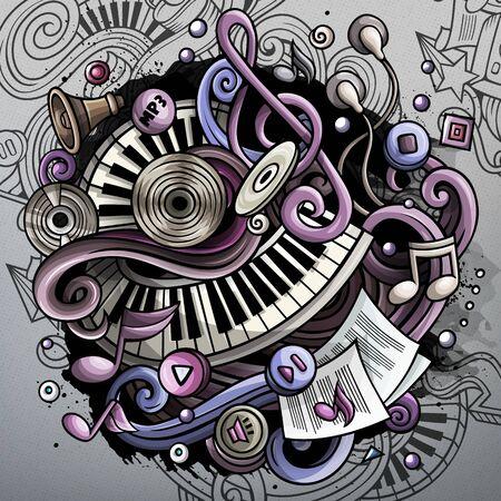 Cartoon cute doodles hand drawn Music illustration. Funny raster artwork