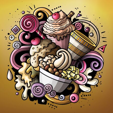 Cartoon cute doodles hand drawn Ice cream illustration. Funny raster artwork Stock fotó
