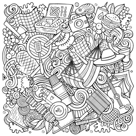 Picnic hand drawn vector doodles illustration. BBQ poster design. Family party elements and objects cartoon background. Sketchy funny picture. All items are separated Ilustrace