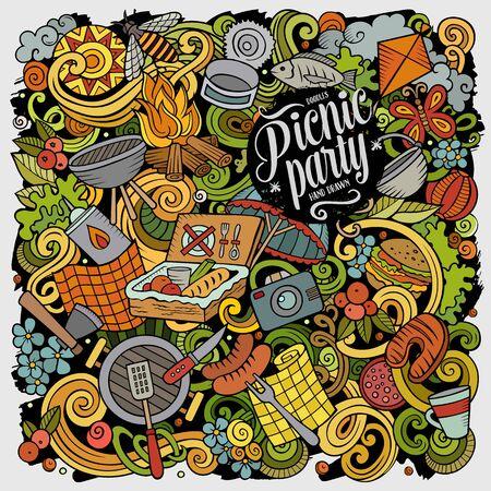 Picnic hand drawn vector doodles illustration. BBQ poster design.