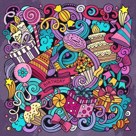 Holiday hand drawn vector doodles illustration. Birthday poster design