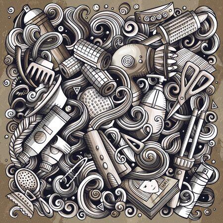 ヘアサロン手描きベクトル落書きイラスト。ヘアスタイルポスターデザイン。理髪店の要素やオブジェクト漫画の背景。モノクロ面白い画像。すべ  イラスト・ベクター素材