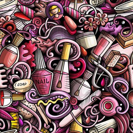 ●マニキュア手描きの落書きシームレスなパターン。ネイルアートの背景。漫画の化粧品の生地のプリントデザイン。●カラフルなベクトルイラス