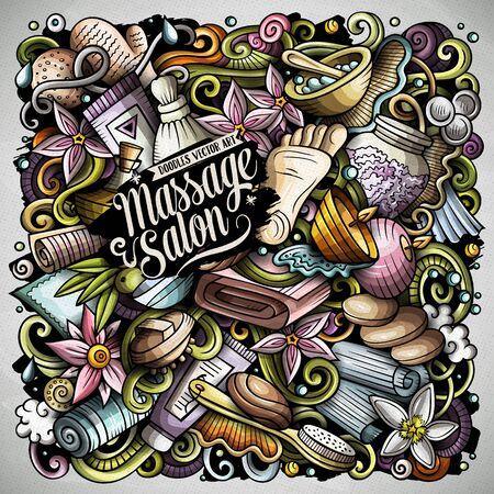 Massage hand drawn vector doodles illustration. Spa salon poster design.