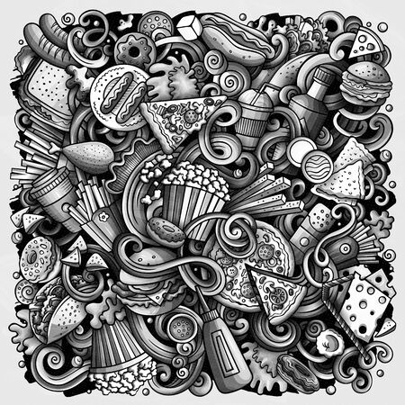 Fastfood hand drawn vector doodles illustration. Fast food poster design. Unhealthy elements and objects cartoon background. Monochrome funny picture. All items are separated Stock Illustratie