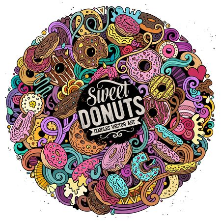 Donuts hand drawn vector doodles round illustration. Sweets poster design. Doughnut elements and objects cartoon background. Bright colors funny picture. All items are separated Ilustração