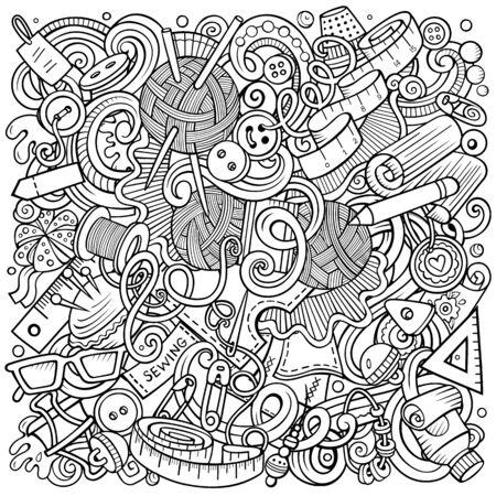 Illustration de griffonnages de vecteur dessinés à la main à la main. Conception d'affiches à la main. Fond de dessin animé d'éléments et d'objets de couture. Image drôle fragmentaire. Tous les articles sont séparés