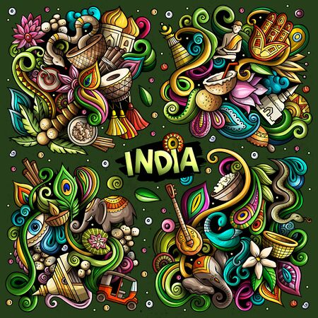 Colorful vector hand drawn doodles cartoon set of India combinations of objects and elements. All items are separate Illusztráció