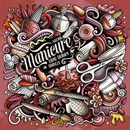 Nail Salon hand drawn vector doodles illustration. Manicure poster design.