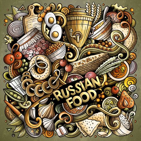 Russian food hand drawn vector doodles illustration. Russia cuisine poster design. National elements and objects cartoon background. Bright colors funny picture