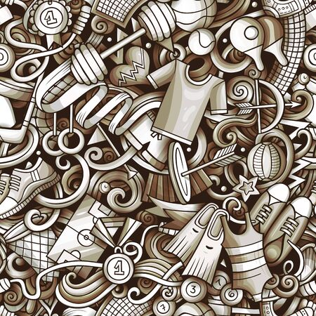 Sports hand drawn doodles seamless pattern. Monochrome, detailed, with lots of objects vector background Ilustração