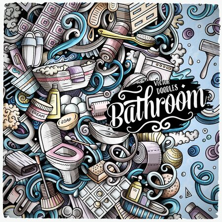 Bathroom hand drawn vector doodles illustration. Bath room frame card design. Interior elements and objects cartoon background. Bright colors funny border. All items are separated