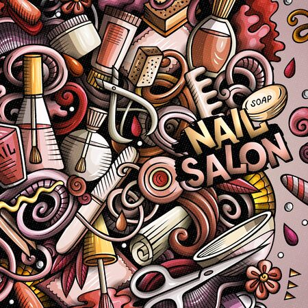 Nail salon hand drawn vector doodles illustration. Manicure frame card design. Beauty elements and objects cartoon background. Bright colors funny border. All items are separated