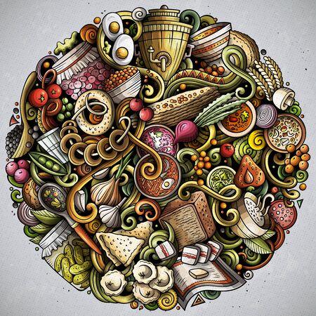 Russisches Essen handgezeichneter Vektor kritzelt runde Illustration. Russland-Küche-Poster-Design. Nationale Elemente und Objekte Cartoon-Hintergrund. Lustiges Bild in hellen Farben