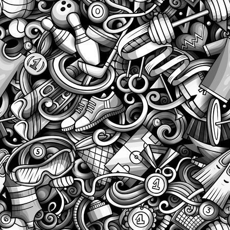 Sports hand drawn doodles seamless pattern. Monochrome, detailed, with lots of objects vector background Illustration