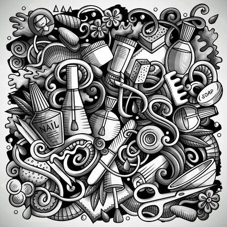 Illustration de griffonnages vectoriels dessinés à la main de salon de manucure. Conception d'affiche de manucure. Éléments de beauté et fond de dessin animé d'objets. Image drôle monochrome. Tous les articles sont séparés