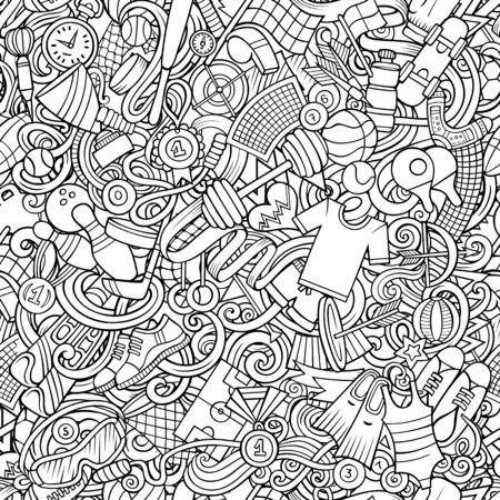 Sports hand drawn doodles seamless pattern. Line art, detailed, with lots of objects vector background
