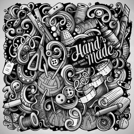 Hand Made hand drawn vector doodles illustration. Handmade poster design. Illustration