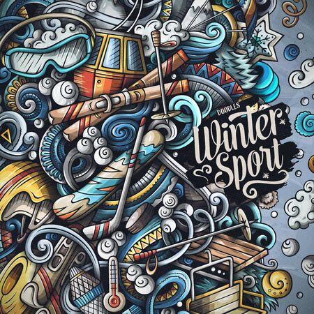 Sporty zimowe ręcznie rysowane gryzmoły ilustracji wektorowych. Projekt karty ramki ośrodka narciarskiego. Zimne sezony aktywności na świeżym powietrzu elementy i obiekty kreskówka tło. Jasne kolory śmieszne obramowanie Ilustracje wektorowe