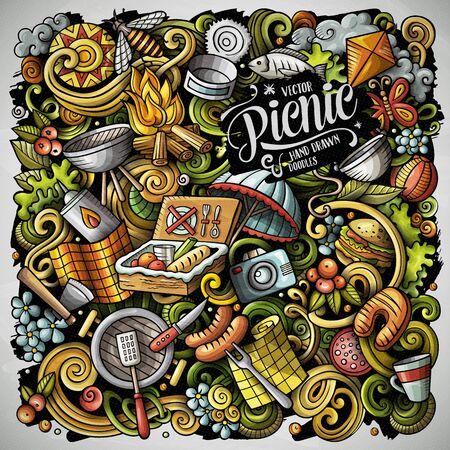 Picnic hand drawn vector doodles illustration. BBQ poster design. Archivio Fotografico - 127472847