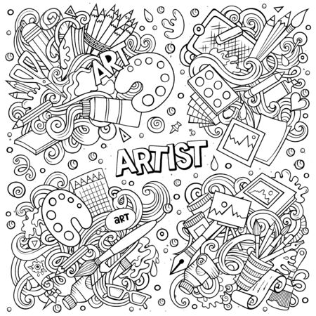 Line art vector hand drawn doodles cartoon set of Artist combinations of objects and elements. All items are separate