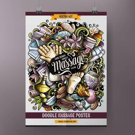 Massage hand drawn doodles illustration. Spa salon objects and elements poster Stok Fotoğraf - 127472851