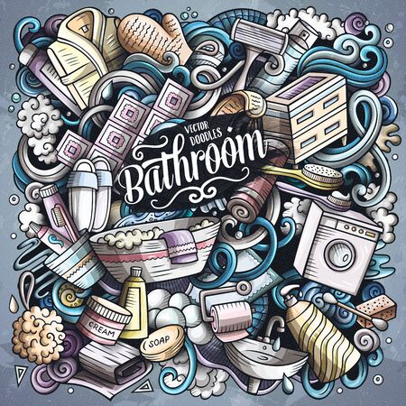 Bathroom hand drawn vector doodles illustration. Bath room poster design.