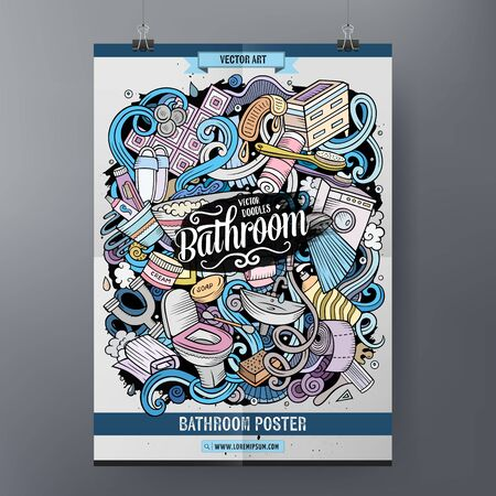 Bathroom hand drawn doodles illustration. Bath objects cartoon poster