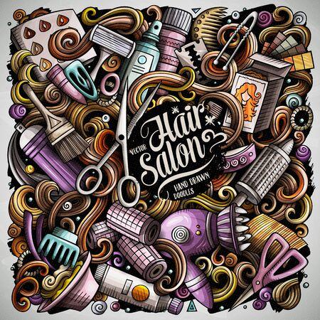 Hair salon hand drawn vector doodles illustration. Hairstyle poster design. Illustration