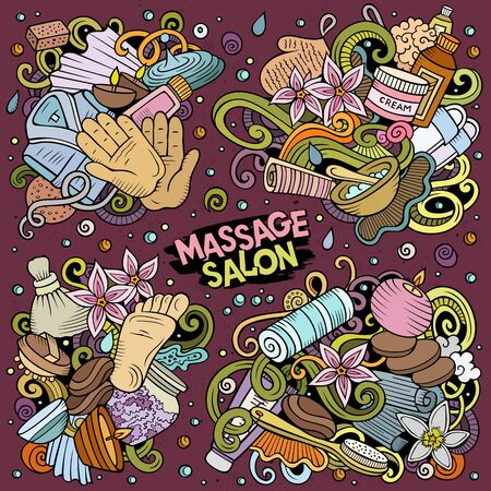 Colorful vector hand drawn doodles cartoon set of Massage combinations of objects and elements. All items are separate Illustration