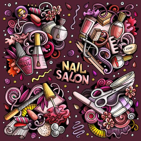 Colorful vector hand drawn doodles cartoon set of Nail Salon combinations of objects and elements. All items are separate