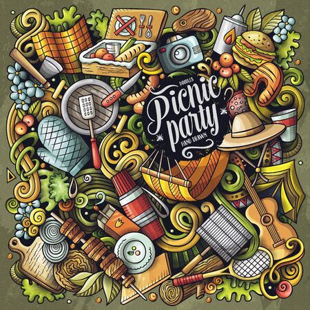 Picnic hand drawn vector doodles illustration. BBQ poster design. Family party elements and objects cartoon background. Bright colors funny picture. All items are separated