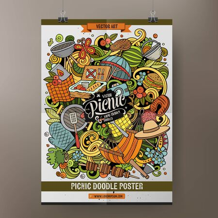 Picnic illustration. BBQ objects and elements cartoon doodle background