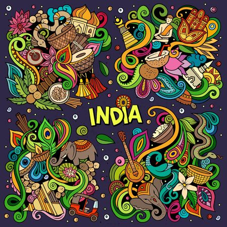 Colorful vector hand drawn doodles cartoon set of India combinations of objects