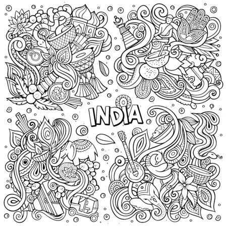 Line art vector hand drawn doodles cartoon set of India combinations of objects
