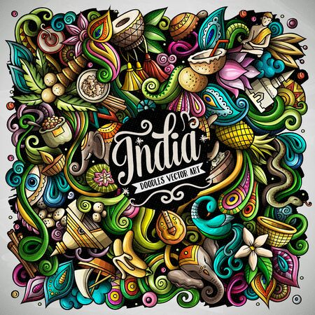 India hand drawn vector doodles illustration. Indian poster design.  イラスト・ベクター素材