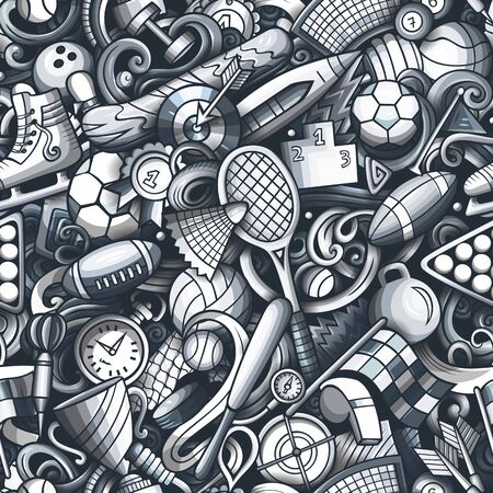 Sports hand drawn doodles seamless pattern. Monochrome, detailed, with lots of objects vector background Illusztráció