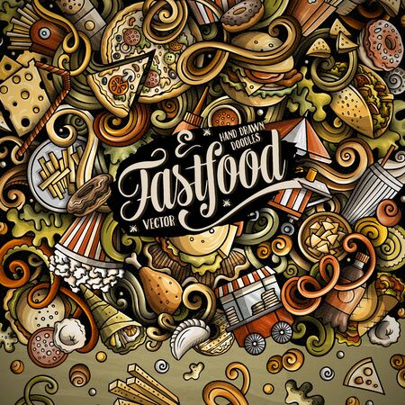 Fastfood hand drawn vector doodles illustration. Fast food frame card design. Unhealthy elements and objects cartoon background. Bright colors funny border. All items are separated
