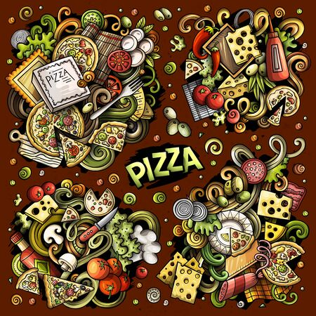 Colorful vector hand drawn doodles cartoon set of Pizza combinations