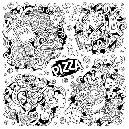 Line art vector hand drawn doodles cartoon set of Pizza combinations