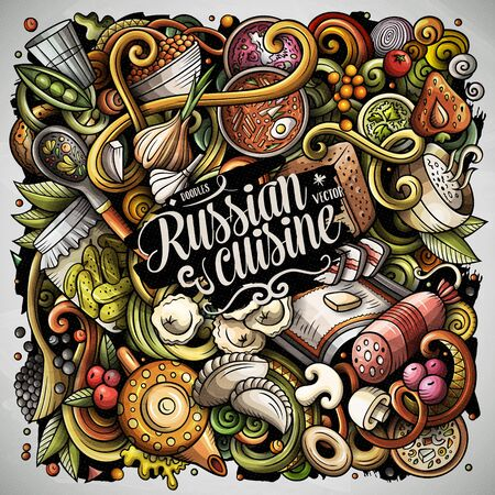 Russian food hand drawn vector doodles illustration. Russia cuisine poster Stock fotó - 127472874