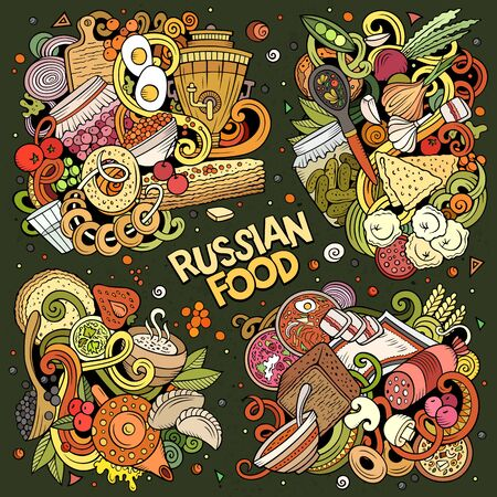 Colorful vector hand drawn doodles cartoon set of Russian food combinations of objects and elements. All items are separate Ilustração