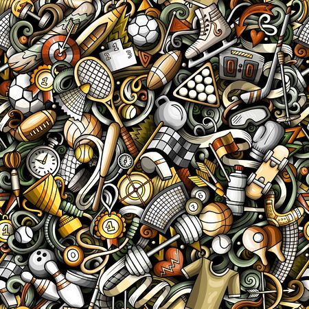 Sports hand drawn doodles seamless pattern. Colorful, detailed, with lots of objects vector background